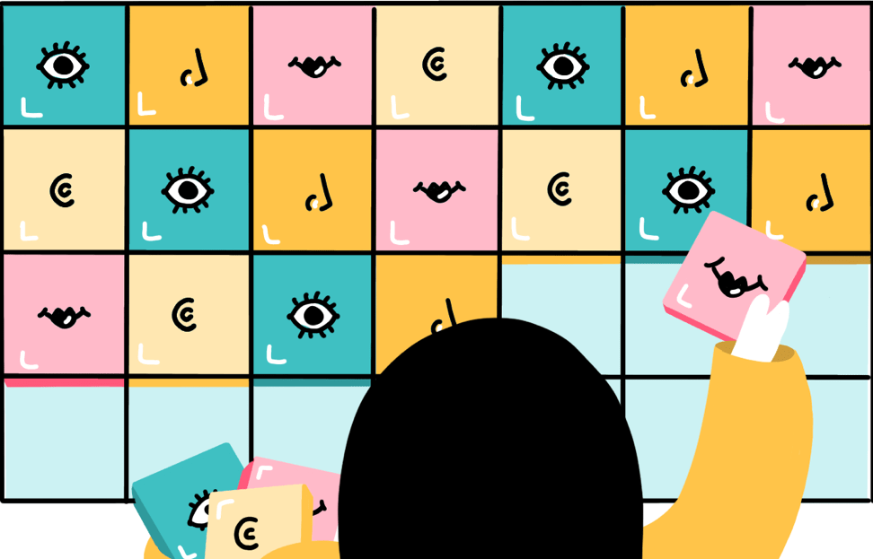 Illustration of student matching and comparing tiles with illustrations on them.