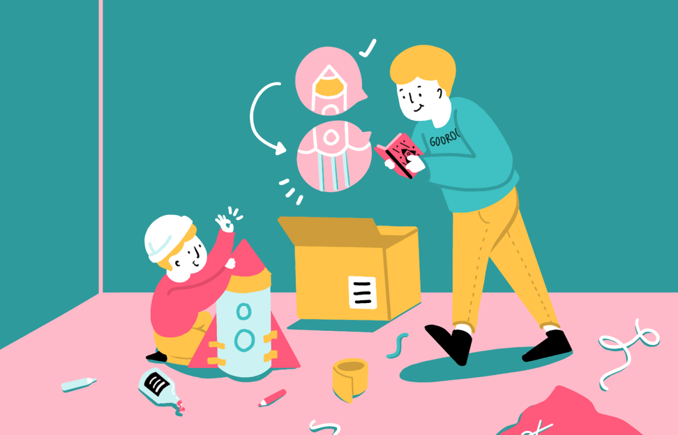 Illustration of student assembling something by following the instructions.