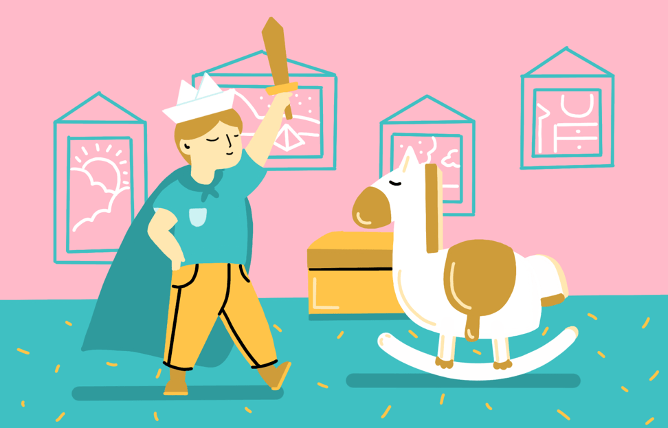 Illustration of student pretending to be a king in part of the story.